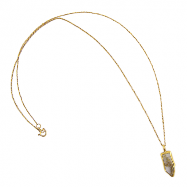 Gold in quartz set in 24k gold