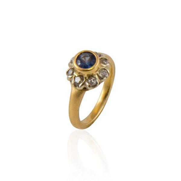 blue sapphire mine cut diamonds 22k gold ring