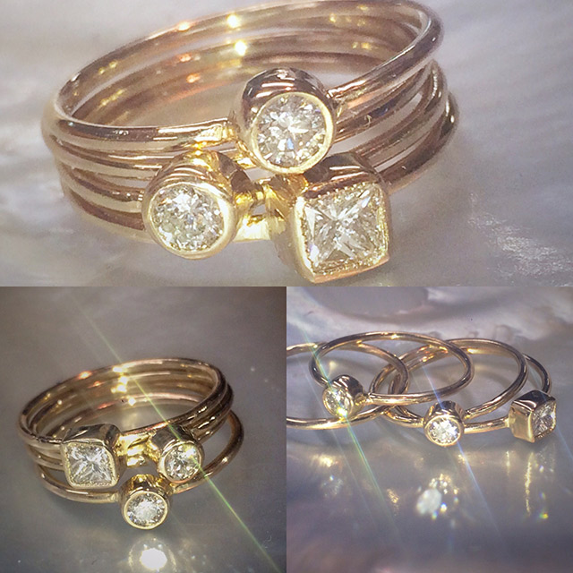 Stackable diamond and gold rings