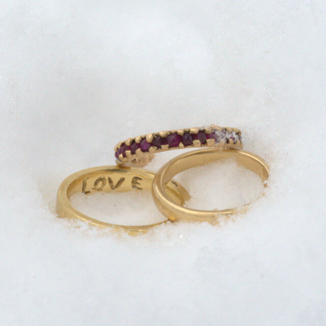 Gold and Ruby Wedding Bands